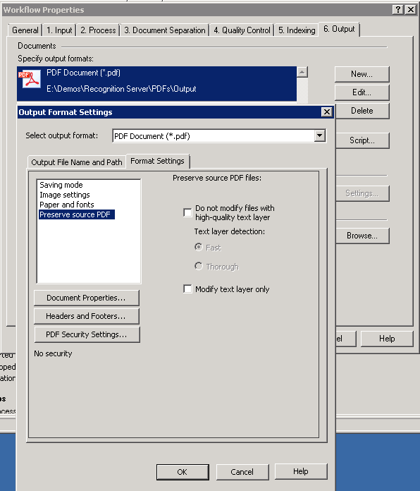 Output Format Settings to preserve original PDF and detect the need for recognition